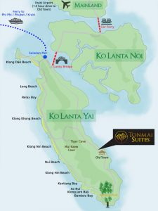 Map of Ko Lanta and beaches